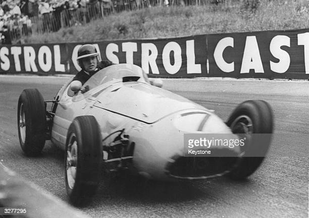 Mike Hawthorn in his Maserati in which he won the International Trophy Race in 15 minutes and 10 seconds at London's Crystal Palace