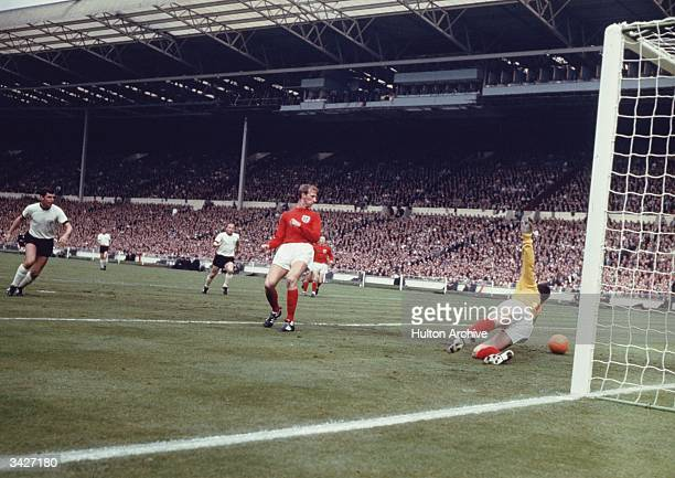 A German shot passing English goalkeeper Gordon Banks during the 1966 World Cup final at Wembly which England won 42