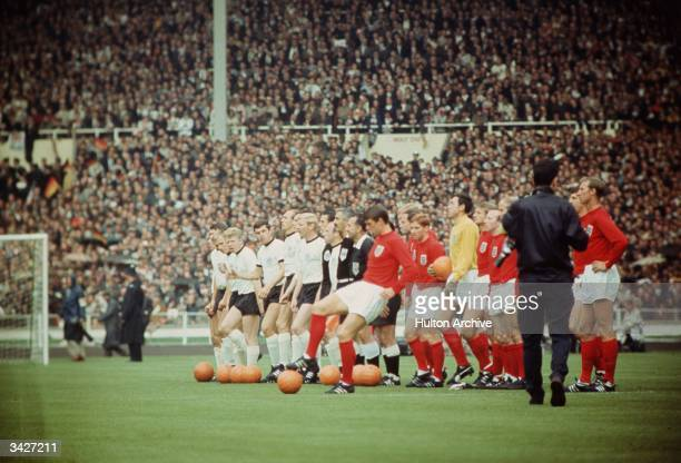 England and West Germany lining up before the 1966 World Cup final at Wembley Stadium which England won 4-2.