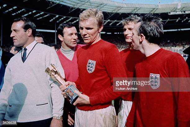 England captain Bobby Moore with the Jules Rimet trophy following England's 42 victory after extra time over West Germany in the World Cup Final at...