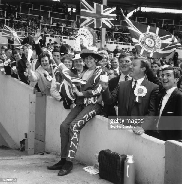 Football fan Jean Nicholson at the World Cup final in Wembley Stadium