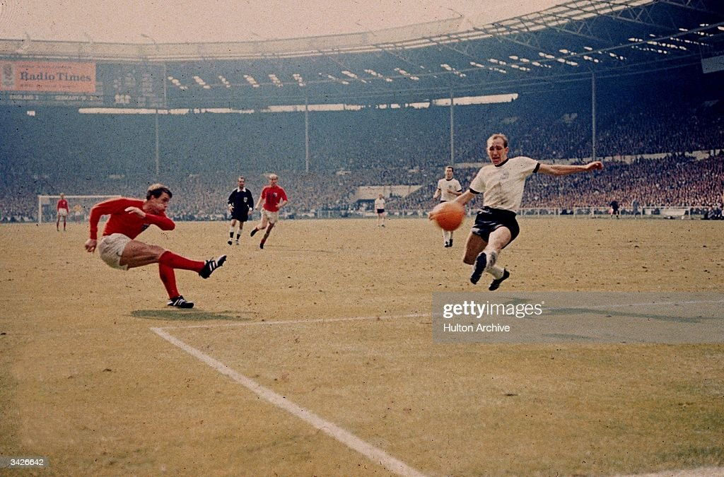 Geoff Hurst scores England's third goal against West Germany in the World Cup final at Wembley Stadium. The goal, awarded upon the judgement of the Russian linesman has remained one of the most controversial goals in the history of the competition. England became World champions with a 4-2 victory after extra time.