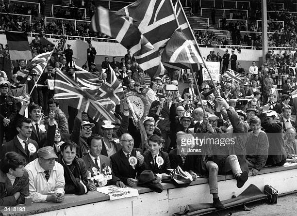 Some of the England fans at Wembley Stadium London for the 1966 World Cup Final against West Germany which England won 42