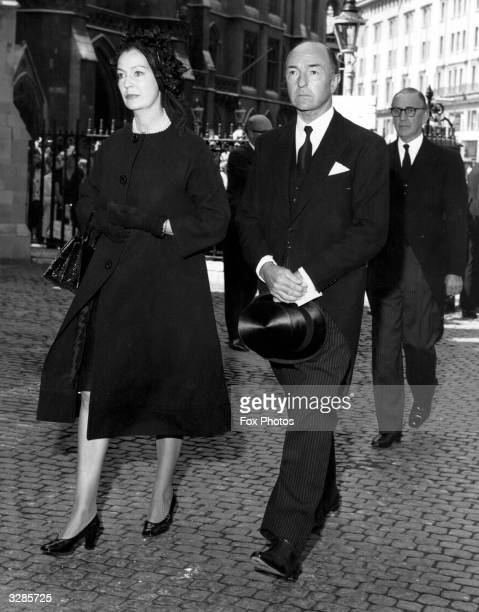 Mr and Mrs John Profumo arriving at Westminster Abbey for Iain Macleod's Memorial Service She is former actress Valerie Hobson