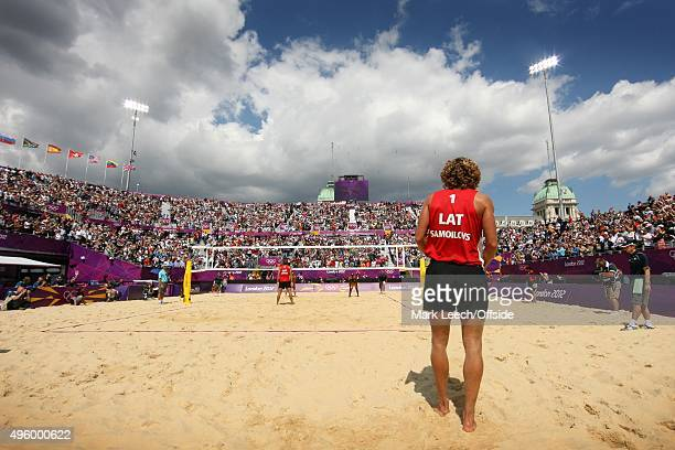 30th July 2012 London 2012 Olympic Games Men's Beach Volleyball Preliminary Phase A general view of Horse Guards Parade as Aleksandrs Samoilovs...