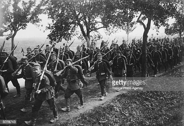 German infantry on manoeuvres in preparation for war