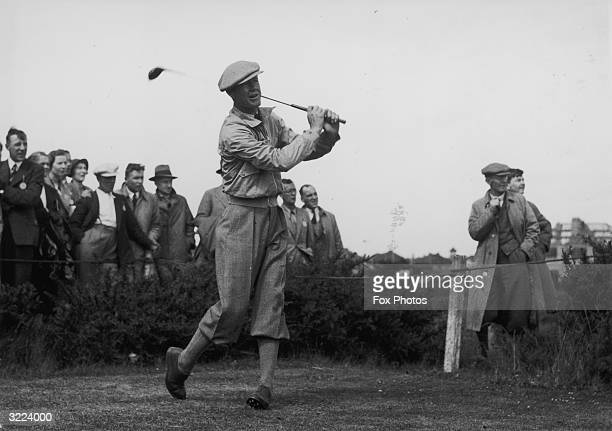 American golfer Byron Nelson driving off during his match in the Ryder Cup The USGA repetitive balltesting machine is named 'Iron Byron' after him He...