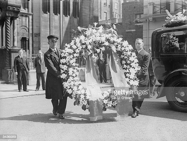 Wreath from Adolf Hitler at the funeral service in All Saints Church, London, for Richard Seaman who was killed driving at the Belgian Grand Prix.