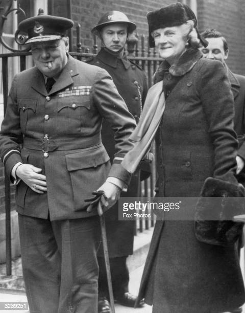 Winston Churchill arriving at 10 Downing Street with his wife Clementine after returning from the Middle East