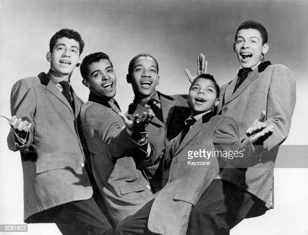 Popular young American vocal group Frankie Lymon and The Teenagers 16 year old High School students Jimmy Merchant Joseph Negroni Sherman Garnes and...