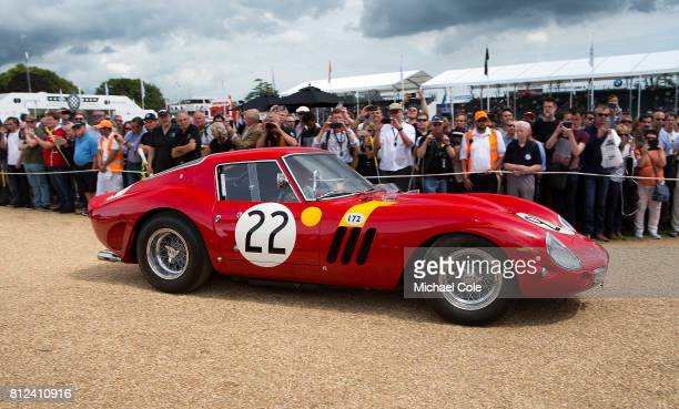 1963 Ferrari 250 GTO entrants/drivers Nick Annette Mason Celebrating 70 years of Ferrari on the front drive of Goodwood House at Goodwood on 30th...