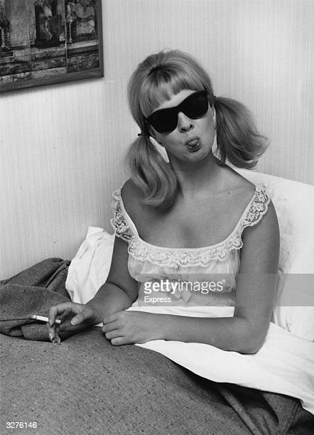 Model and show girl Mandy RiceDavies who rose to fame for her part in the 'Profumo Affair' the trial of British cabinet minister John Profumo