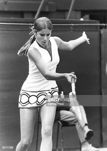 American tennis player Chris Evert in action at Wimbledon