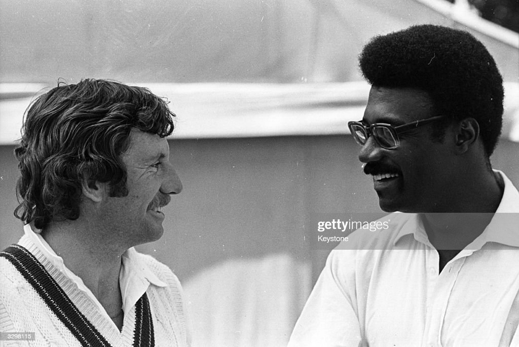 Australian cricket captain Ian Chappell talks to Clive Lloyd, the West Indies captain at Lord's Cricket Ground in London on the eve of the Prudential World Cup Cricket Final.