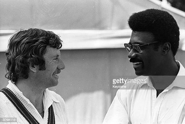 Australian cricket captain Ian Chappell talks to Clive Lloyd the West Indies captain at Lord's Cricket Ground in London on the eve of the Prudential...