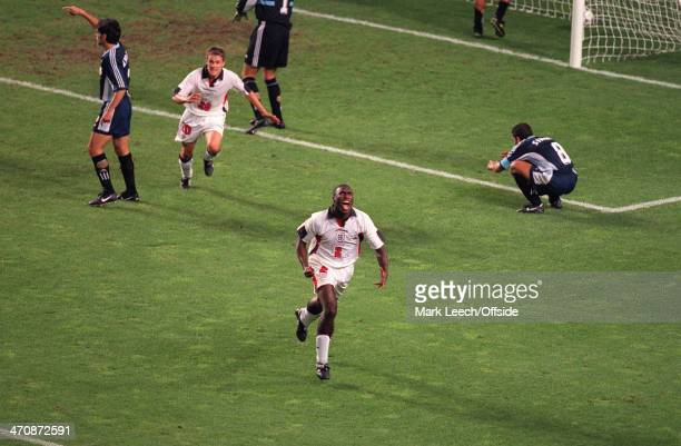 30th June 1998 - Football World Cup 1998 - England v Argentina - Sol Campbell runs away in celebration after scoring for England. His goal was to be...
