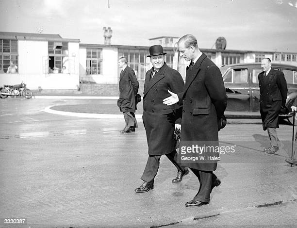 Crown Prince Olaf of Norway is met by the Duke of Edinburgh at London Airport The Crown Prince will represent his father King Haakon at the...