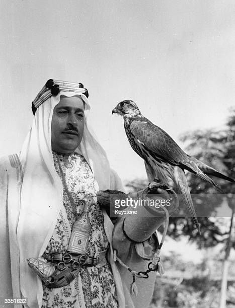 Sheikh Khalifah Chief of Police of Manama in Bahrain with his pet hunting falcon