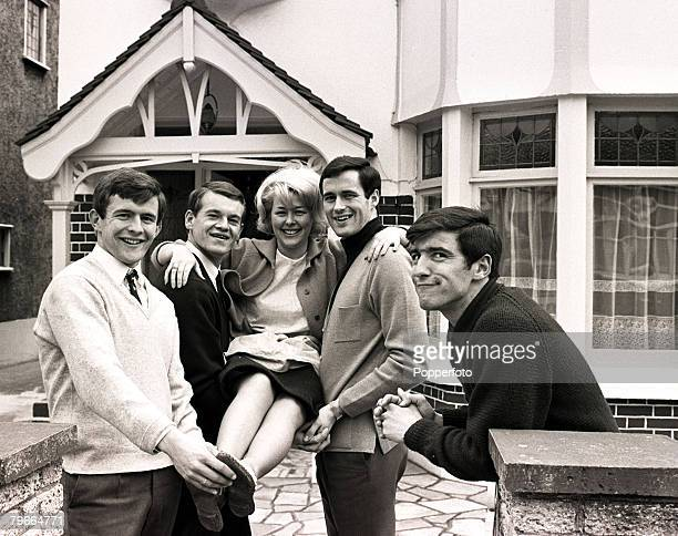 30th March 1966 Christine McCann gets a lift from Chelsea footballers John Hollins Eddie McCreadie and George Graham On the far right Christines...