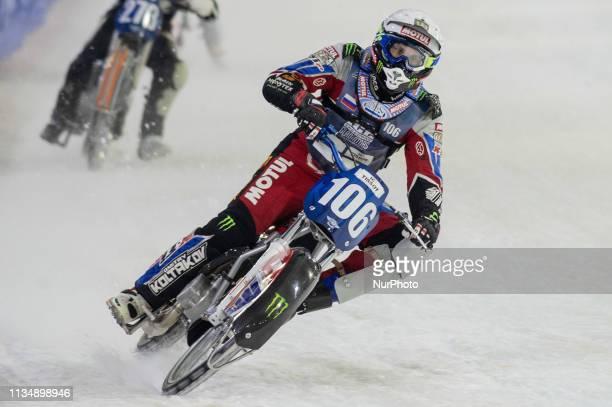HEERENVEEN NLD 30th March Dmitri Koltakov in action during the FIM Ice Speedway Gladiators World Championship Final 5 at Ice Rink Thialf Heerenveen...