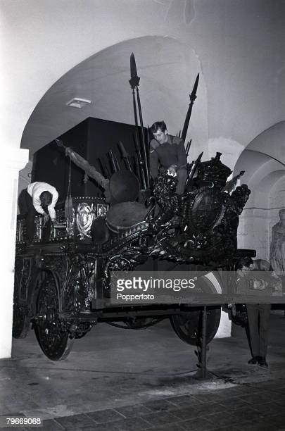 30th March Sappers of the Royal Engineers give a final polish to the 6 wheeled 18 ton funeral wagon of the Duke of Wellington which carried his body...