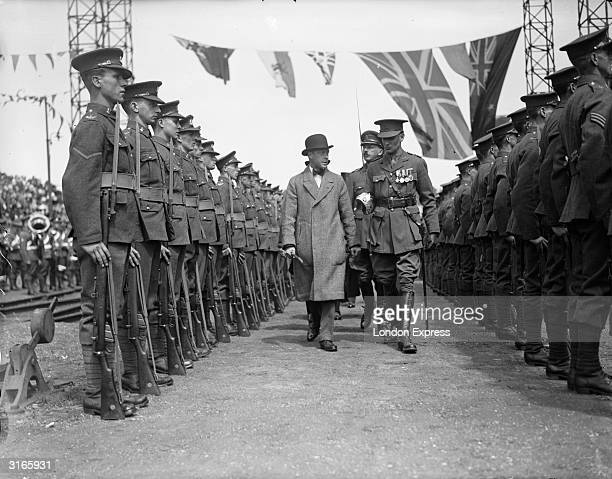 Edward Prince of Wales inspects guards of the 4th Battalion Norfolk Regiment during a visit to Norwich