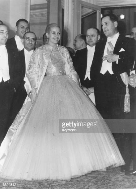 Eva Peron former actress and wife of Argentinian president Juan Peron at the Presidential Palace before leaving for the Teatro Colon to commemorate...