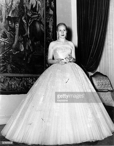 Eva Peron wife of the Argentine President in a ball gown attending a national feast commemorating Argentina's 141st Independence day