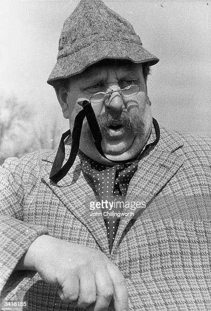 'Punch' cartoonist Rowland Emett, dressed as the eccentric inventor Professor Hogmuddle designer of the 'Hogmuddle Rotary Niggler and Fidgetter', a...
