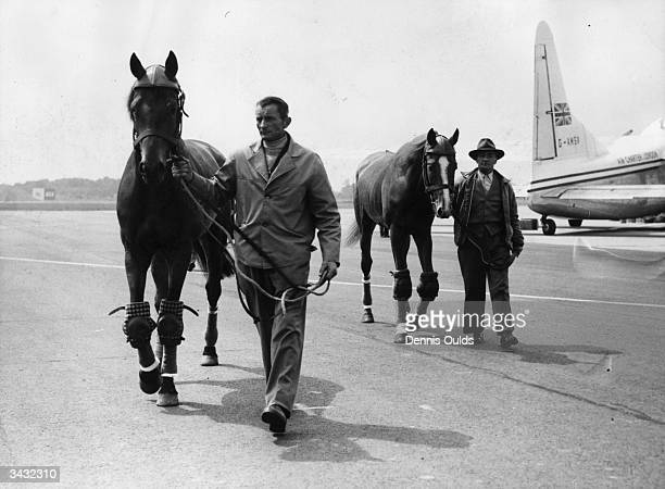 Ali Khan's favourite horses for this years Derby race Princillon and Saint Crispin arrive from France at London's Gatwick Airport
