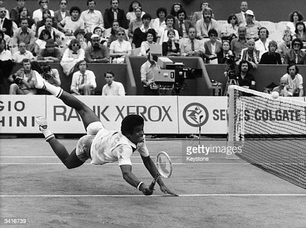 French tennis player Yannick Noah in action at Roland Garros Paris during his first round match against America's Billy Martin in the French Open...