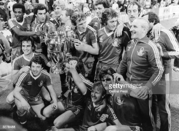 Nottingham Forest celebratewith the European Cup trophy after beating the Swedish side Malmo 10 in the European Cup Final in Munich Amongst the...