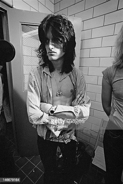 guitarist Joe Perry from American rock band Aerosmith posed backstage at RFK Stadium in Washington DC USA on 30th May 1976