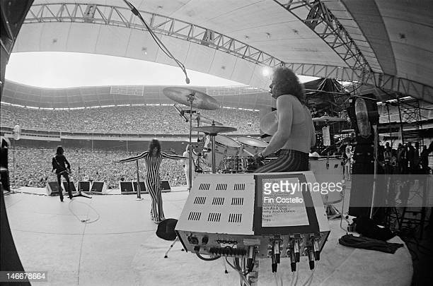 Joe Perry Steven Tyler Tom Hamilton and drummer Joey Kramer of Aerosmith perform live on stage at RFK Stadium in Washington DC USA on 30th May 1976
