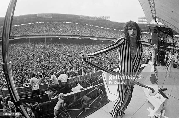 lead singer Steven Tyler of Aerosmith performs live on stage at RFK Stadium in Washington DC USA on 30th May 1976