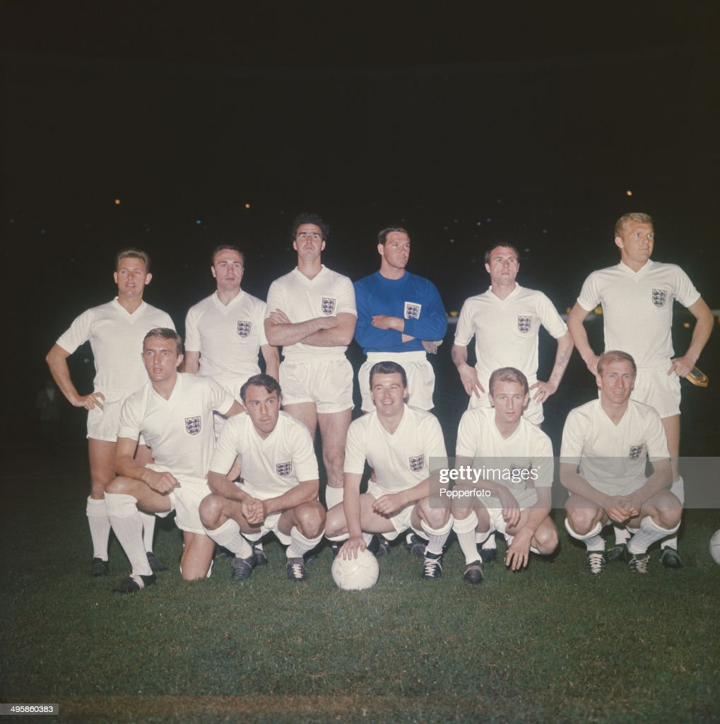 The England football team posed before their International game with Brazil at the Maracana stadium in Rio de Janeiro, Brazil on 30th May 1964. Back row from left: Gordon Milne, Ray Wilson, Maurice Norman, Tony Waiters, George Cohen and Bobby Moore. Front row from left: Peter Thompson, Jimmy Greaves, Johnny Byrne, George Eastham and Bobby Charlton.