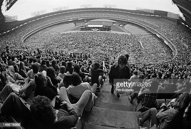 View of music fans at RFK Stadium in Washington DC USA during a concert by American rock band Aerosmith on 30th May 1976