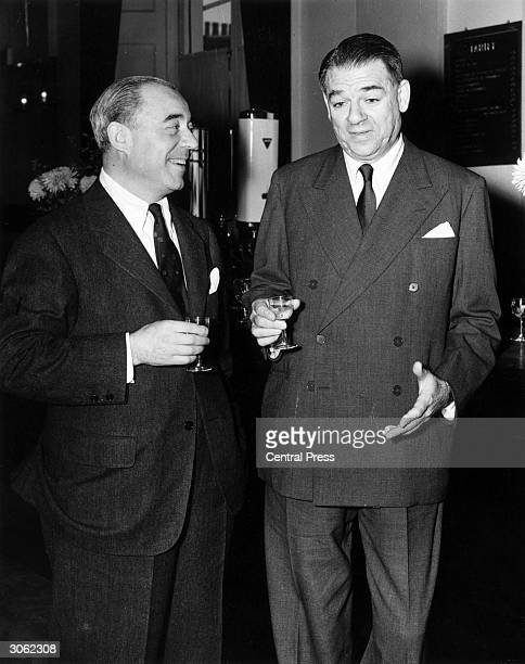 American songwriters Richard Rodgers and Oscar Hammerstein at the Theatre Royal Drury Lane where their new show 'South Pacific' is to play