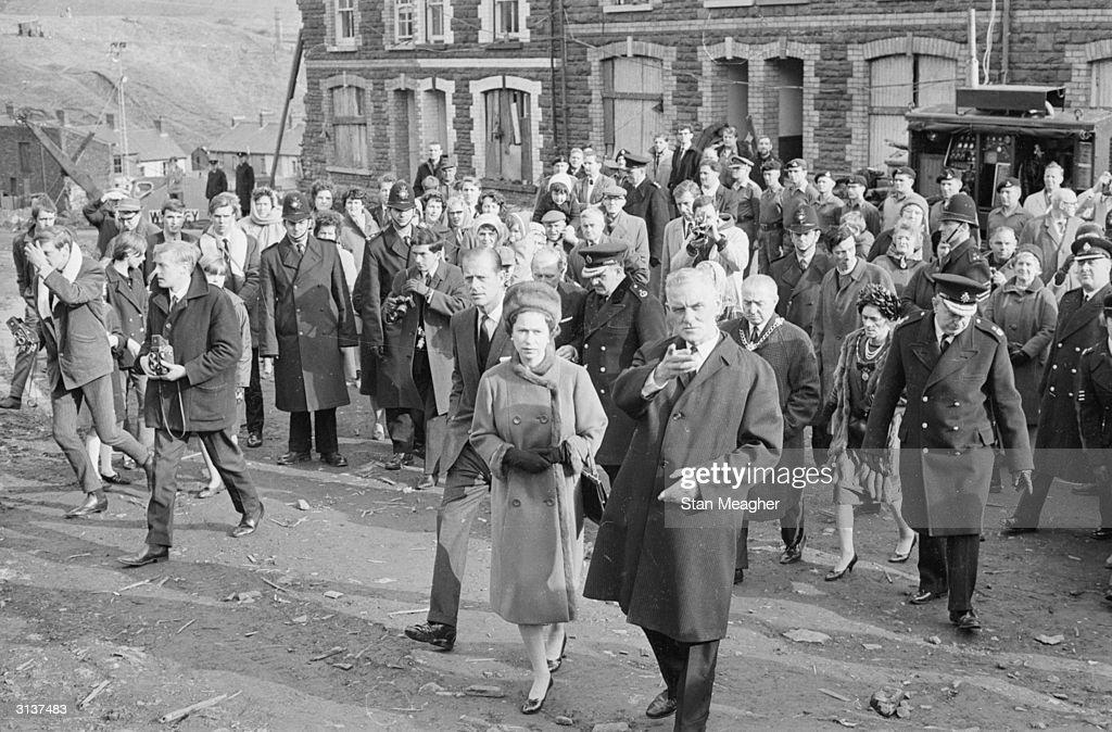 Queen Elizabeth II and Prince Philip visit Aberfan in ...
