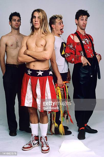 NEW YORK 30th OCTOBER The Red Hot Chili Peppers posed in New York on 30th October 1985 Left to right Cliff Martinez Anthony Kiedis Flea and Hillel...