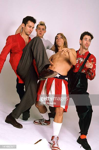 The Red Hot Chili Peppers posed in New York on 30th October 1985 Left to right Cliff Martinez Flea Anthony Kiedis and Hillel Slovak