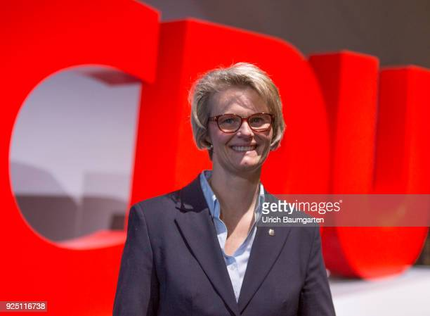 30th Party Congress of the CDU Germany in Berlin Anja Karliczek designated Federal Education Minister in front of the CDU logo