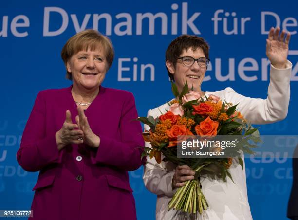 30th Party Congress of the CDU Germany in Berlin Annegret KrampKarrenbauer Secretary General of the CDU and Federal Chancellor Angela Merkel wave to...