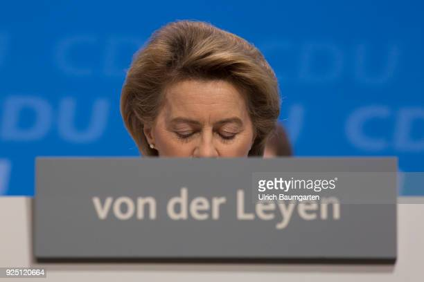 30th Party Congress of the CDU Germany in Berlin Ursula von der Leyen Federal Minister of Defense during the party congress