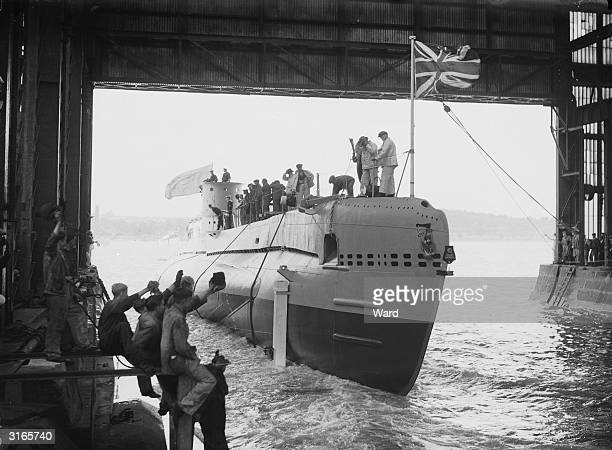 The Sunfish, the last of three submarines commissioned by the Royal Navy in 1934, leaves the Cammell Laird shipyard in Chatham, Kent on the day of...