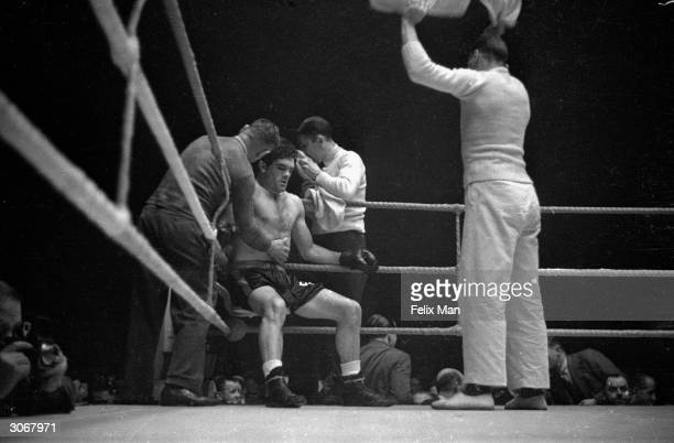 British boxer Freddie Mills during the British Heavyweight title fight against Jack London at Bellevue Manchester He became light heavyweight...