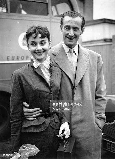 British industrialist James Hanson with his fiancee actress Audrey Hepburn at Northolt Airport London