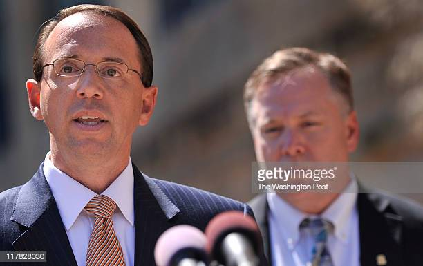 United States Attorney for the District of Maryland Rod J Rosenstein talked with reporters after the Guilty plea of Prince Georges County...