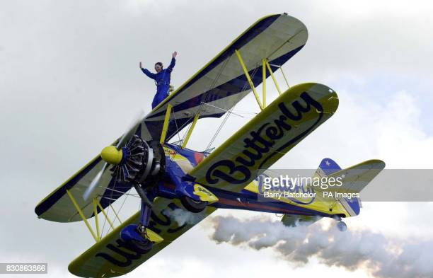 30yearold Alison Brown from the West Midlands wingwalking at Rendcomb Airfield near Cirencester Alison along with fellow wingwalker 82yearold Tom...