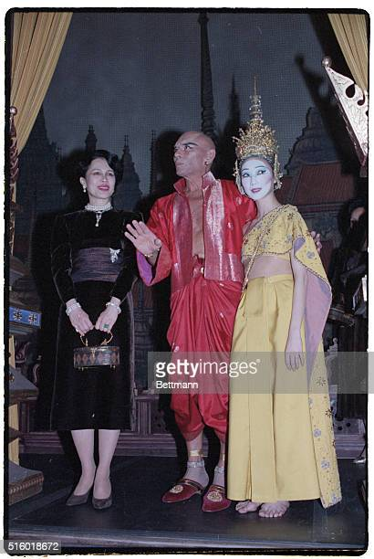 New York NYYul and Cathy Lee Brynner with Queen Sirikit of Thailand following performance of 'The King and I' on Broadway Photog Rick Harbus